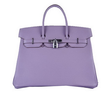 Hermes Birkin 35CM Tote Bag Lavender Grainy Leather Silver