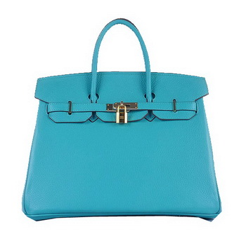 Hermes Birkin 35CM Tote Bag Light BLue Grainy Leather Gold
