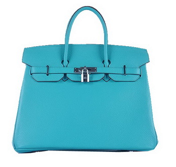 Hermes Birkin 35CM Tote Bag Light BLue Grainy Leather Silver
