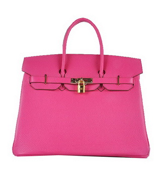 Hermes Birkin 35CM Tote Bag Rosy Grainy Leather Gold