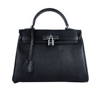 Hermes Kelly 28cm Shoulder Bags Black Grainy Leather Silver