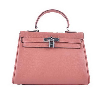 Hermes Kelly 28cm Shoulder Bags Light Pink Grainy Leather Silver