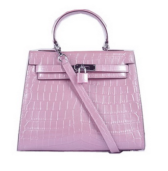 Hermes Kelly 28cm Shoulder Bags Pink Croco Patent Leather Silver