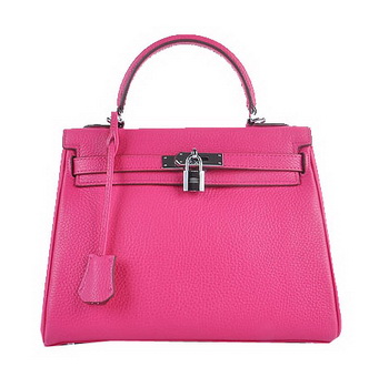 Hermes Kelly 28cm Shoulder Bags Rose Grainy Leather Silver