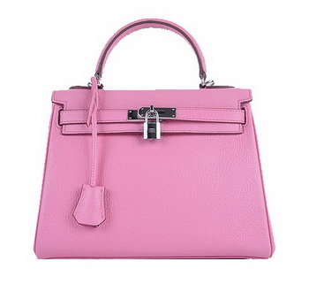 Hermes Kelly 28cm Shoulder Bags Sakura Grainy Leather Silver