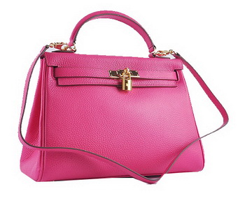 Hermes Kelly 32cm Shoulder Bags Rosy Grainy Leather Gold