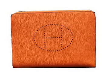 Hermes Original Grainy Leather Clutch H8026 Orange