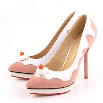 Charlotte Olympia Dolly Suede Leather 12CM Pumps CO947 Pink