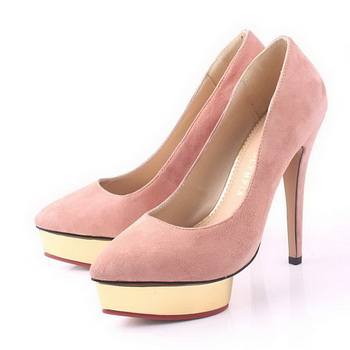 Charlotte Olympia Dolly Suede Leather 13CM Pumps CO949 Pink