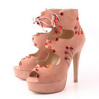 Charlotte Olympia Suede Leather 12CM Ankle Boot CO952 Pink
