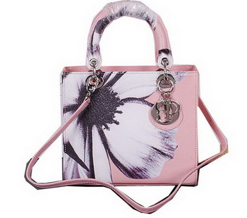 Dior Chrysanthemum Leather Lady Dior Bag D5432 Pink