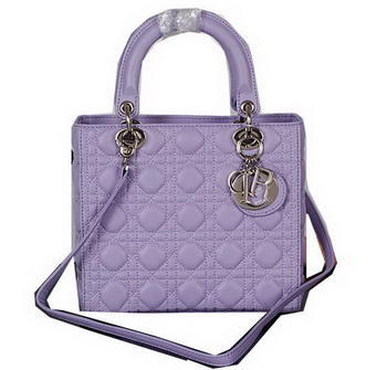 Dior Lady Dior Bag Lavender Sheepskin Leather D5432 Silver