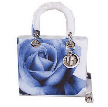 Dior Rose Leather Lady Dior Bag D6095 White