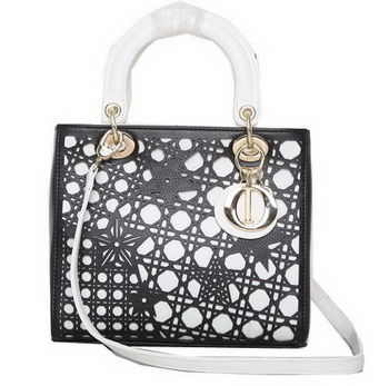 Dior Star Cutout Leather Lady Dior Bag D0666 Black