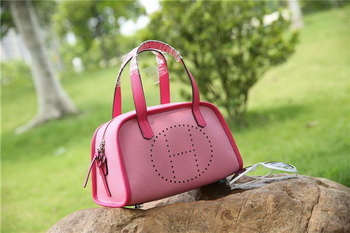 Hermes Boston Bag Grainy Leather H9898 Pink