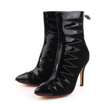 Charlotte Olympia Suede Leather 10CM Ankle Boot CO956 Black