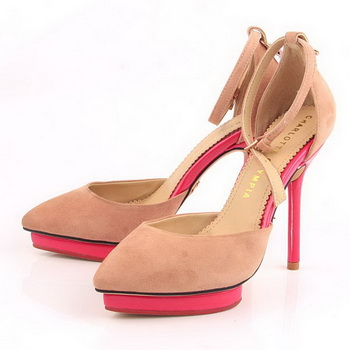 Charlotte Olympia Suede Leather 13CM Pump CO955 Pink