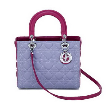 Christian Dior CD6325 Lavender Sheepskin Mini Lady Dior Bag Silver