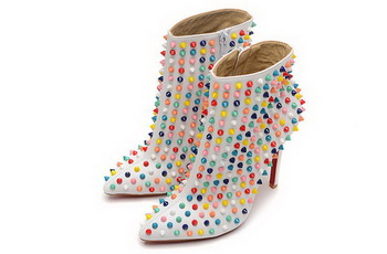 Christian Louboutin Rivet Ankle Boot CL1443 White