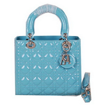 Christian Dior CD9601 Light Blue Patent Mini Lady Dior Bag Silver