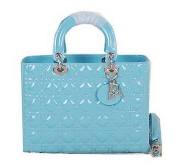 Christian Dior CD9603 Light Blue Patent Small Lady Dior Bag Silver