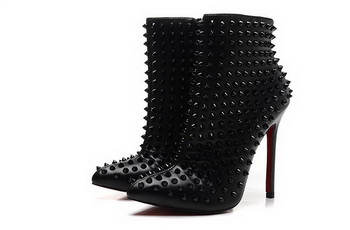 Christian Louboutin Sheepskin 12cm Ankle Boot CL1445 Black
