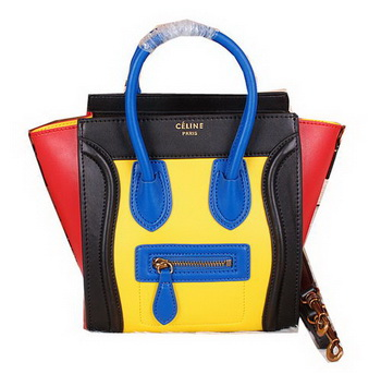 Celine Luggage Nano Bag Ferrari Leather CL3308S Yellow&Black&Red