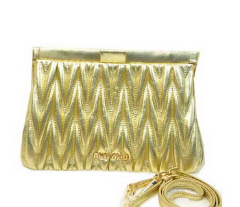 miu miu Matelasse Lambskin Leather Clutches 81154 Gold