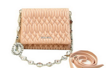 miu miu Matelasse Leather Flap Shoulder Bag BL0530 Light Pink