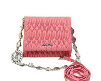 miu miu Matelasse Leather Flap Shoulder Bag BL0530 Pink