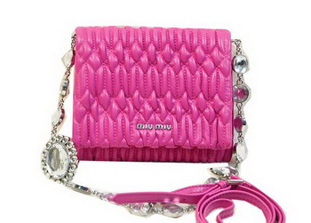 miu miu Matelasse Leather Flap Shoulder Bag BL0530 Rose