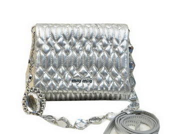 miu miu Matelasse Leather Flap Shoulder Bag BL0530 Silver