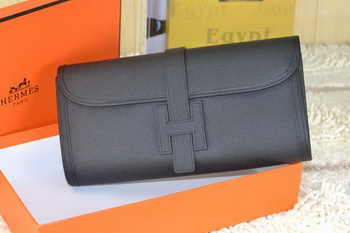 Hermes Jige Clutch Bag Calfskin Leather Black