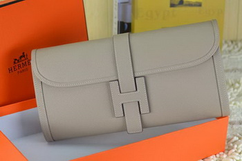 Hermes Jige Clutch Bag Calfskin Leather Grey