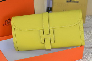 Hermes Jige Clutch Bag Calfskin Leather Lemon