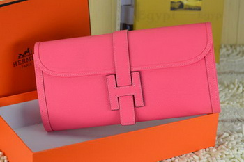 Hermes Jige Clutch Bag Calfskin Leather Light Red