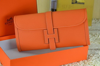 Hermes Jige Clutch Bag Calfskin Leather Orange