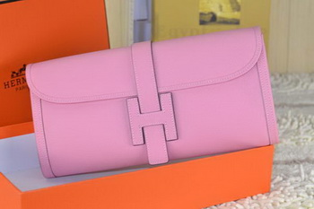 Hermes Jige Clutch Bag Calfskin Leather Pink