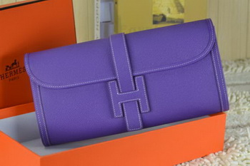 Hermes Jige Clutch Bag Calfskin Leather Purple