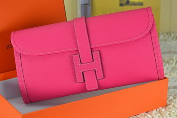 Hermes Jige Clutch Bag Calfskin Leather Rose