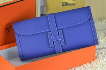 Hermes Jige Clutch Bag Calfskin Leather Royal