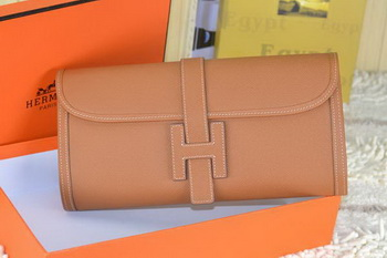 Hermes Jige Clutch Bag Calfskin Leather Wheat
