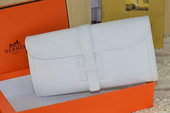 Hermes Jige Clutch Bag Calfskin Leather White
