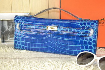 Hermes Kelly Clutch Bag Croco Leather K31 Royal