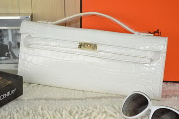 Hermes Kelly Clutch Bag Croco Leather K31 White