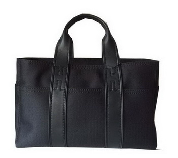 Hermes Briefcase Canvas & Leather H858M Black