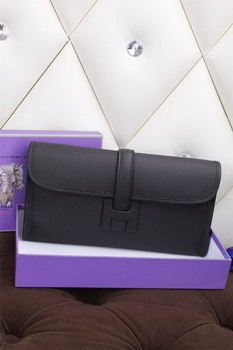 Hermes Jige Clutch Bag Calfskin Leather H258 Black