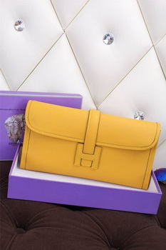 Hermes Jige Clutch Bag Calfskin Leather H258 Lemon