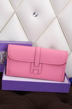 Hermes Jige Clutch Bag Calfskin Leather H258 Pink