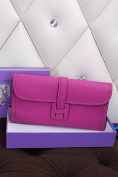 Hermes Jige Clutch Bag Calfskin Leather H258 Purple